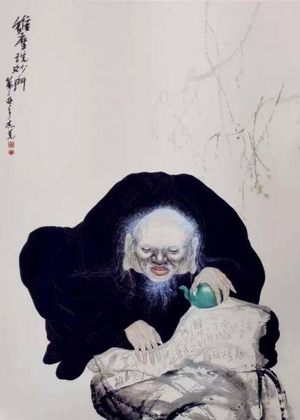 《維摩說妙門》意境脫俗自然的人物國畫