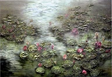 H.H.第三世多杰羌佛 藝術.西畫.欣賞   厚堆色塊派《蒼葉拋紅》