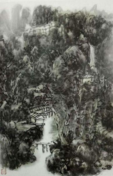H.H.第三世多杰羌佛 中國畫 《暮近黃昏》