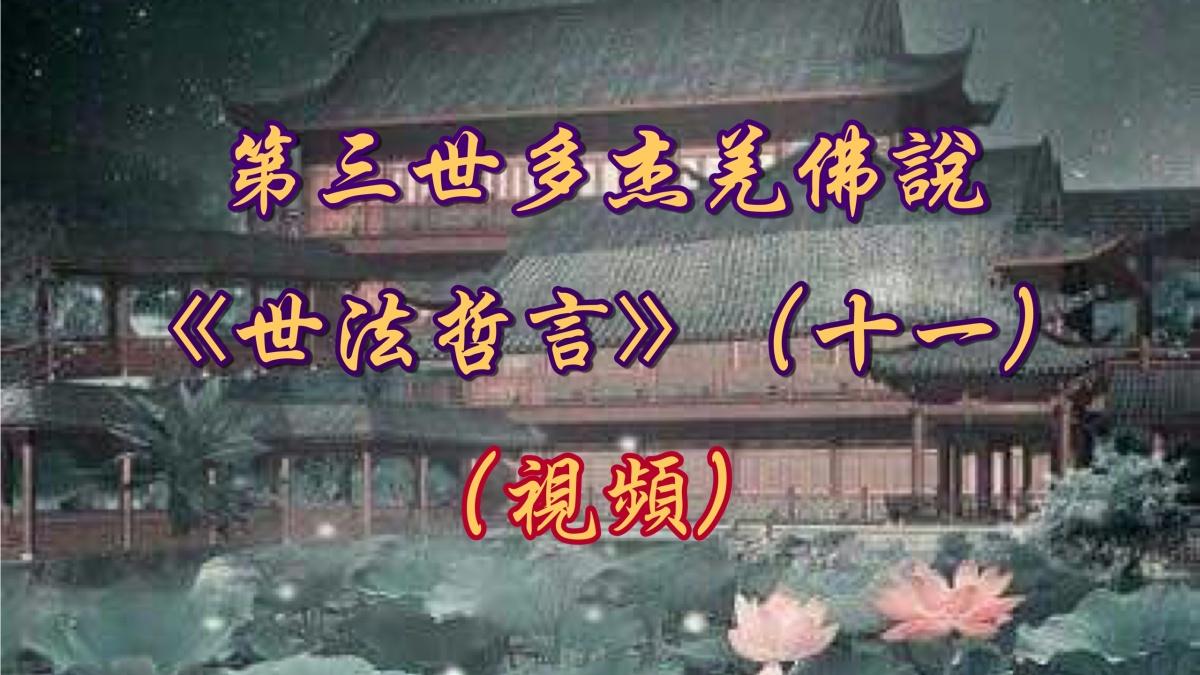 第三世多杰羌佛說《世法哲言》(十一)(視頻)